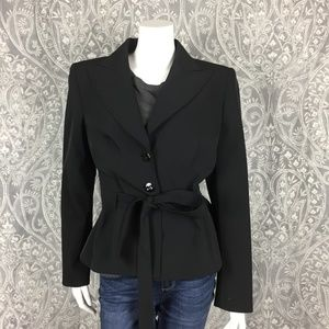 Escada Tie Waist Waterproof Blazer Jacket Size 12